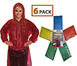 Rain Poncho for Adults (6 Pack) | Drawstring Hood and Elastic Sleeve Ends | 50%...
