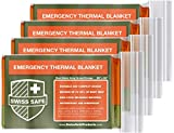 Swiss Safe Emergency Mylar Thermal Blankets (4-Pack) + Bonus Signature Gold Foil...