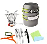 Bisgear 12pcs Camping Cookware Stove Canister Stand Tripod Folding Spork Wine...