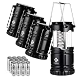 Etekcity 4 Pack Portable LED Camping Lantern Flashlight with 12 AA Batteries -...