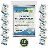 Primacare HB-10 Emergency Foil Mylar Thermal Blanket (Pack of 10), 52' Length x...