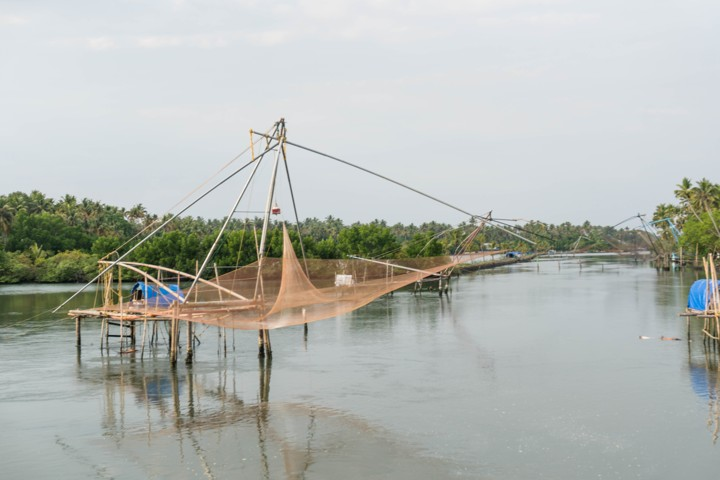 Chinese fishing nets with home---