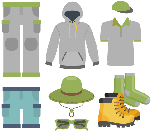 hiking clothes and accessories