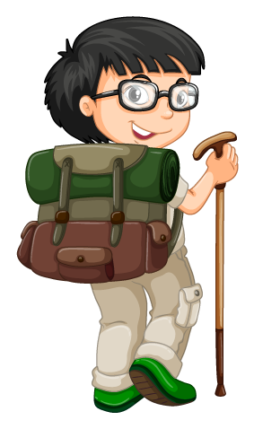 boy backpack and hiking pole