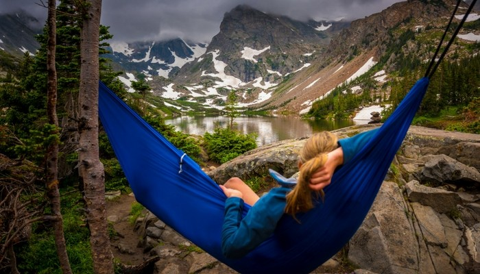 Resting on a camping hammock