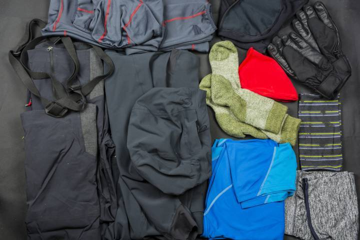 presentation of a set of clothes for hiking